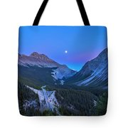 Moon Over Icefields Parkway Tote Bag