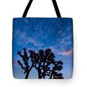 Moon Over Joshua - Joshua Trees During Sunrise In Joshua Tree National Park. Tote Bag