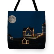 Moon Over Nubble Light Tote Bag