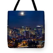 Moon Over Portland Oregon City Skyline At Blue Hour Tote Bag
