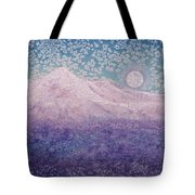 Moon Over Snowy Peaks Tote Bag