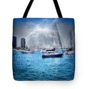 Moon Over The City Harbor Tote Bag