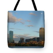 Moon Over The Prudential In Boston Tote Bag