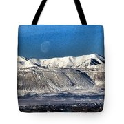 Moon Over The Snow Covered Mountains Tote Bag