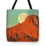 Moon Over Tucson Mountains Tote Bag