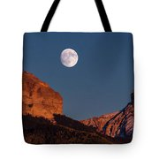 Moon Rise Over Cimarron Mountain Range Tote Bag