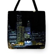 Moon Rise Over Downtown Chicago And The Willis Tower #2 Tote Bag