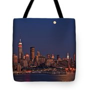 Moon Rise Over Manhattan Tote Bag