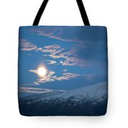 Moon Rise Over The Presidential Range Tote Bag