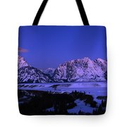 Moon Sets Over Behind The Tetons Panorama Tote Bag