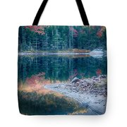 Moon Setting Fall Foliage Reflection Tote Bag