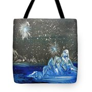 Moon With A Blue Dress Tote Bag