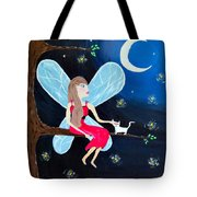 Moonlight Fairy And Fireflies Tote Bag