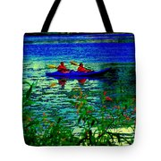 Moonlight Kayak Ride Along The Coastline Of The Lachine Canal Quebec Sea Scenes Carole Spandau Tote Bag