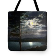 Moonlight On Yellowstone Lake Tote Bag