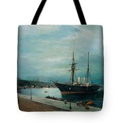 Moonlit Harbour Of Volos Tote Bag