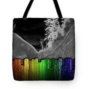 Moonlit Mountainside Behind Rainbow Fence Tote Bag