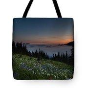 Moonlit Rainier Meadows Sunset Tote Bag