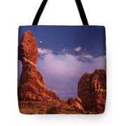Moonrise At Balanced Rock Arches National Park Utah Tote Bag