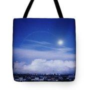 Moonrise Over Nova Harfa Tote Bag