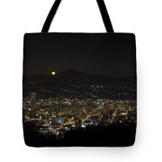 Moonrise Over Portland Oregon Cityscape Tote Bag
