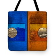 Moons On Blue And Gold Tote Bag