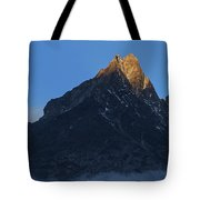 Moonset And Alpenglow Over A Snow Peak Tote Bag