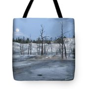 Moonset At Mammoth Terrace-yellowstone Tote Bag