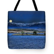 Moonset Over Cooney Tote Bag