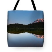 Moonset Over Rainier Tote Bag