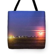 Moonset Over The Vla Tote Bag