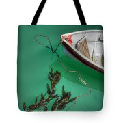 Moored Boat And Kelp Tote Bag