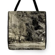 Moored Boat By The River In Tam Coc Tote Bag