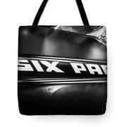 Mopar Six Pack Hood Emblem Black And White Picture Tote Bag