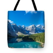 Moraine Lake At Banff National Park Tote Bag