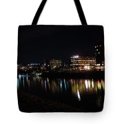 Morgantown Skyline At Night From The Waterfront Tote Bag