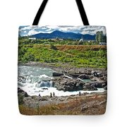 Moricetown Falls And Canyon Fishing Operation On The Bulkley River In Moricetwown-british Columbia  Tote Bag