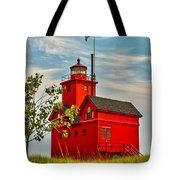 Morning At The Big Red Lighthouse Tote Bag