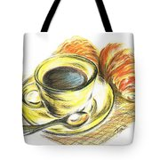Morning Coffee- With Croissants Tote Bag