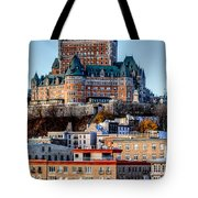 Morning Dawns Over The Chateau Frontenac Tote Bag