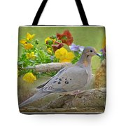 Morning Dove With Pansies Tote Bag
