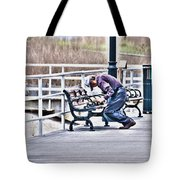 Morning Exercise On The Boardwalk Tote Bag