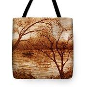 Morning Fishing Original Coffee Painting Tote Bag