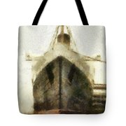 Morning Fog Queen Mary Ocean Liner Bow 03 Long Beach Ca Photo Art 02 Tote Bag