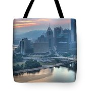 Morning Light Over The City Of Bridges Tote Bag