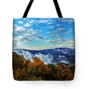 Morning Mist On An Autumn Morning Tote Bag