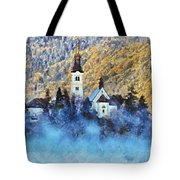 Morning Mist On The Island Tote Bag
