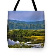Morning Mist On The Moose River Tote Bag by David Patterson