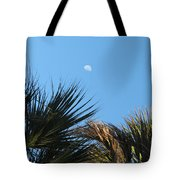 Morning Moon Over Palms Tote Bag