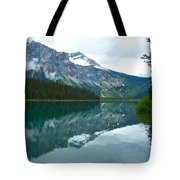 Morning Reflection In Emerald Lake In Yoho National Park-british Columbia-canada Tote Bag